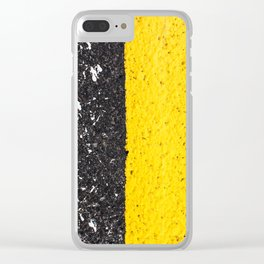 Asphalt with yellow & white lines Clear iPhone Case
