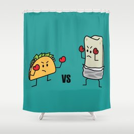 Taco Vs Burrito Boxing Fighters Mexican beef carne tortilla Shower Curtain