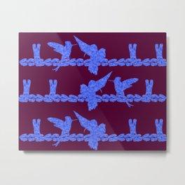 Purple Hummingbirds on Ultraviolet Line Metal Print