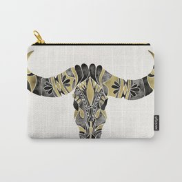 Water Buffalo Skull – Black & Gold Palette Carry-All Pouch