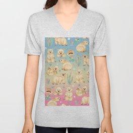 Polar bear with gems and clovers - FTY Unisex V-Neck