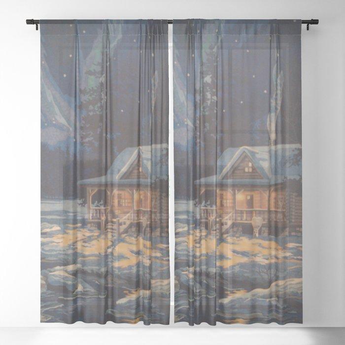 Blue Aurora Nights Sheer Curtain