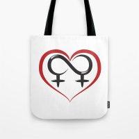 lesbian Tote Bags featuring Lesbian Love by Dragon Servant