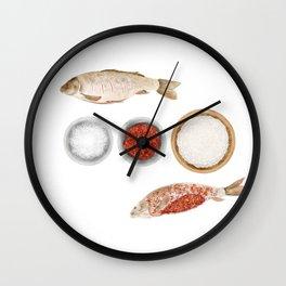 Watercolor Illustration of The process of marinating a fish Wall Clock
