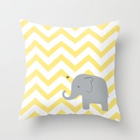 baby elephant Throw Pillows featuring Baby Elephant by Janelle Krupa