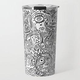 Primitive Art in Black and white pattern Travel Mug