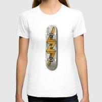 escher T-shirts featuring Escher Bolt Skate Deck  by Vin Zzep