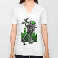 moscow V-neck T-shirts featuring Moscow Jungles by Tate Bacalao