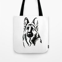 german Tote Bags featuring German Shepherd by JonathanStephenHarris