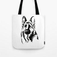 german shepherd Tote Bags featuring German Shepherd by JonathanStephenHarris
