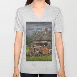 Old Vintage Pickup in front of an Abandoned Farm House Unisex V-Neck