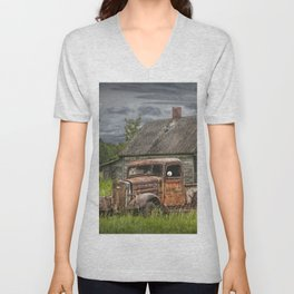 Old Vintage Pickup in front of an Abandoned Farm House Unisex V-Neck