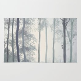 Frozen Fog in the Forest Rug
