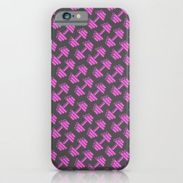 Dumbbellicious PINK GREY iPhone Case