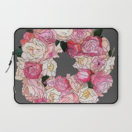 Peony Wreath Painting (dab grey)Feng Shui Laptop Sleeve
