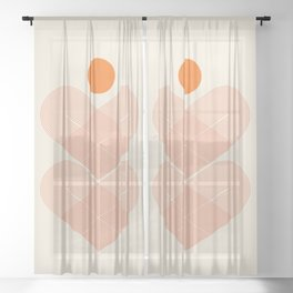 Abstraction_SUN_HEART_LINE_VISUAL_ART_Minimalism_001 Sheer Curtain