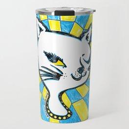 Winking Kitty Blue & Yellow Background Travel Mug