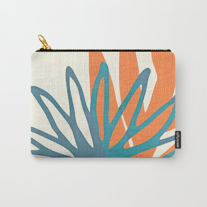 Mid Century Nature Print / Teal and Orange Carry-All Pouch