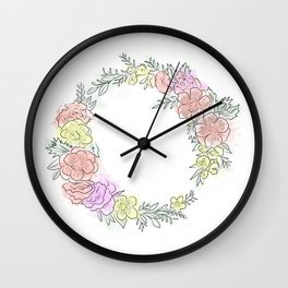 Friday fresh collection , pastel colors flowers . Home decor Wall Clock