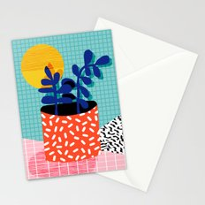 No Way - wacka potted house plant indoor cute hipster neon 1980s style retro throwback minimal pop  Stationery Cards