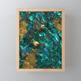 Teal Oil Slick and Gold Quartz Framed Mini Art Print