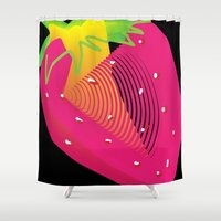 strawberry Shower Curtains featuring Strawberry  by deedesigns