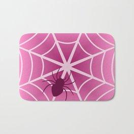 Spider web in pink Bath Mat