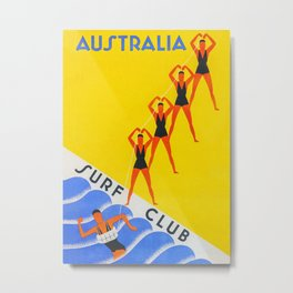 Australia Surf Club Travel Metal Print