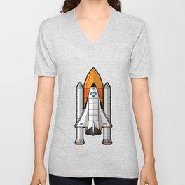 Space Shuttle night launch Unisex V-Neck
