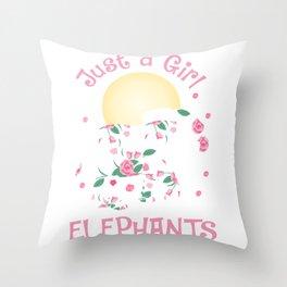 Girl Love Elephants Safari Lover Cute Roses Flower Throw Pillow