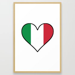 Italian Flag Heart Framed Art Print