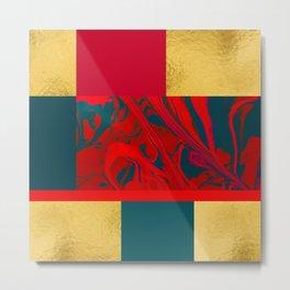 Irregularity II - Abstract Red Marble Metal Metal Print