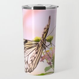 Butterfly on Pink Flowers Travel Mug