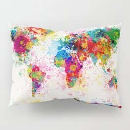 Map of the World Map Paint Splashes Pillow Sham
