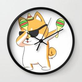 Dabbing Shiba Inu Dog In Sombrero With Maracas Wall Clock
