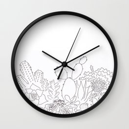 Succulents: Black and White Wall Clock