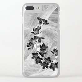 Midnight flowers blowing in the wind Clear iPhone Case