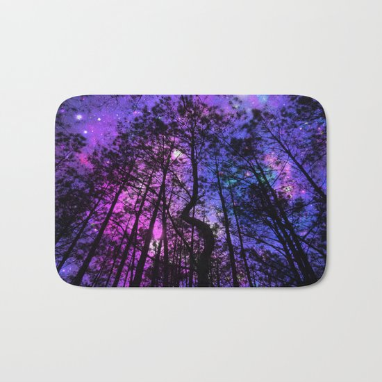 Black Trees Purple Fuchsia Blue space Bath Mat