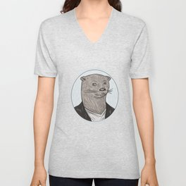 Otter Head Blazer Shirt Oval Drawing Unisex V-Neck