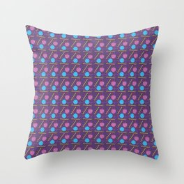 Knitting balls and needles knit pattern in purple Throw Pillow