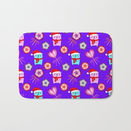 Baby bears with red Santa hats, vintage retro lollipops candy. Cute Christmas purple pattern Bath Mat