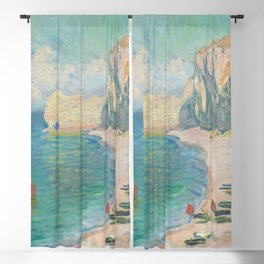 The Beach and the Falaise dAmont (1885) by Claude Monet Blackout Curtain