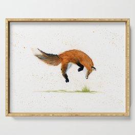 Jumping Jack Fox - animal watercolor painting Serving Tray