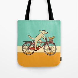Cycling Dog with Squirrel Friend Tote Bag
