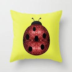 Beautiful Sparkling red sparkles Ladybird Ladybug Throw Pillow