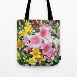 SPRING LILIES FLOWER GARDEN MEDLY Tote Bag