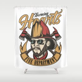 Burning hearts fire department Shower Curtain