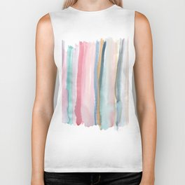 Watercolor stripe Biker Tank