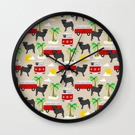 Pug black and white mini van hippie surfing surfer dog breed dog pattern dog art Wall Clock