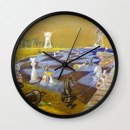 God Playing Chess Game Wall Clock